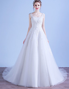 A-line Wedding Dress Court Train Scoop Tulle with Appliques