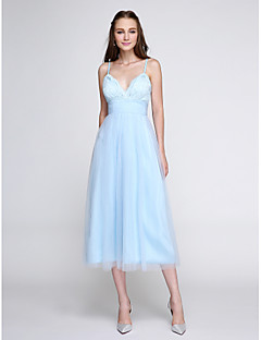 2017 Lanting Bride® Tea-length Lace / Tulle Elegant Bridesmaid Dress - A-line Spaghetti Straps with Lace