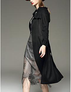 여성의 솔리드 피크트 라펠 긴 소매 트렌치 코트-스트리트 쉬크 캐쥬얼/데일리 블랙 / 그레이 / 옐로 스페셜 가죽 타입 가을 중간