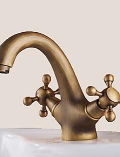Traditionnel Set de centre Pivotant with  Soupape céramique Deux poignées un trou for  Laiton Antique , Robinet lavabo