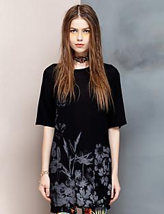 Γυναικεία T-shirt Εξόδου Απλό Φλοράλ,½ Μανίκι Στρογγυλή Λαιμόκοψη Καλοκαίρι Λεπτό Ρεϊγιόν / Spandex Μαύρο