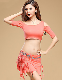 Belly Dance Outfits Women's Performance Modal Pleated 2 Pcs Black / Dark Green / Red / Burgundy Half Sleeve Top / Skirt