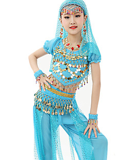 Belly Dance Outfits Children's Performance Chiffon Sequin 7 Pieces Fuchsia / Light Blue / Light Green / Yellow / Orange