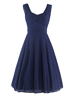 Women's Casual/Daily Vintage Sheath Dress,Solid Deep V Knee-length Sleeveless Blue Cotton / Polyester Summer