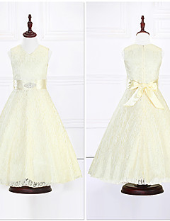 Ball Gown Ankle-length Flower Girl Dress - Organza / Satin Sleeveless V-neck with Crystal Detailing / Lace