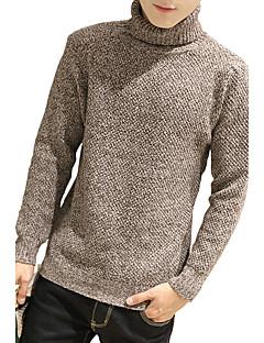 Herren Pullover-Einfarbig Freizeit / Übergröße Wolle / Baumwolle Lang Braun / Grau