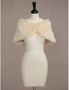 Women's Wrap Capelets Sleeveless Faux Fur Champagne Wedding / Party/Evening Bateau 65cm Button Clasp