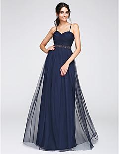 TS Couture 프롬 포멀 이브닝 드레스 - 오픈 백 A-라인 스파게티 스트랩 바닥 길이 튤 와 비즈 크리스 크로스