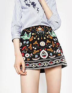 Women's Embroidered Black SkirtsStreet chic Above Knee
