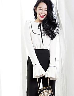 Kadın İnce Polyester Uzun Kollu Yuvarlak Yaka Sonbahar Zıt Renkli Sokak Şıklığı Günlük/Sade Beyaz-Kadın Set Pantolon Suit