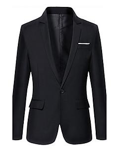 Men's Color Block Casual / Work / Formal Blazer,Cotton Long Sleeve Black / Blue / Red / Beige / Gray