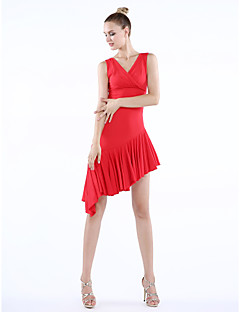 Imported Nylon Viscose with Draped Latin Dance Dresses for Women's Performance (More Colors)