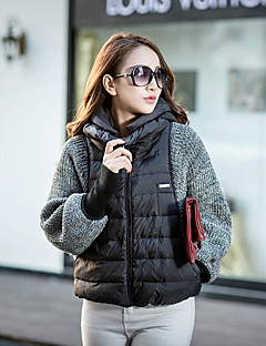 Damen Daunen Mantel,Standard Einfach Street Schick Ausgehen Lässig/Alltäglich Solide-Polyester Weiße Entendaunen Langarm Mit Kapuze
