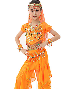 Belly Dance Outfits Children's Performance Gold Coins Ruched 7 Pieces Fuchsia / Light Blue / Light Green /  Royal Blue