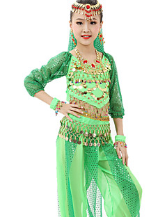 Belly Dance Outfits Children's Performance Chiffon Gold Coins / Sequins 7 Pieces Fuchsia / Light Green / Orange / Purple