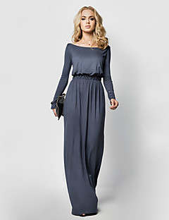 Women's Casual/Daily Sexy Sheath Dress,Solid Round Neck Maxi Long Sleeve Black / Brown / Gray / Green Polyester Summer