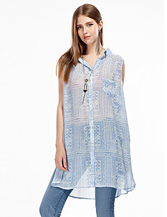 Women's Going out Simple Summer Tank Top,Patchwork Shirt Collar Sleeveless Blue Polyester Thin