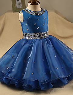 Ball Gown Short / Mini Flower Girl Dress - Organza Sleeveless Jewel with Beading