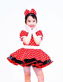 Tenues de Danse pour Enfants Robes Enfant Spectacle Elasthanne Polyester Nœud papillon Pois 2 Pièces Manche courte Taille moyenneRobe