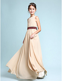 Lanting Bride® Tot de grond Chiffon Junior bruidsmeisjesjurk Strak/kolom Scoophals met Drapering