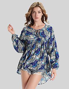 Damen Druck Retro Übergröße T-shirt,Rundhalsausschnitt Herbst Langarm Blau Polyester Undurchsichtig