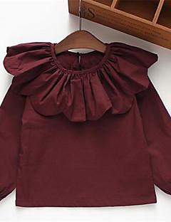 Mädchen T-Shirt-Lässig/Alltäglich einfarbig Baumwolle Frühling / Herbst Rot
