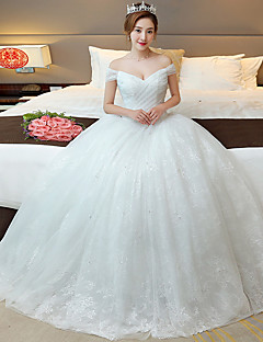 A-line Wedding Dress Floor-length Off-the-shoulder Lace / Tulle with Criss-Cross / Lace / Pearl