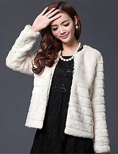 Mulheres Casaco de Pelo Happy-Hour / Casual / Festa/Coquetel Sensual / Simples / Chinoiserie Outono / Inverno,Sólido Branco Acrílico