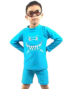 2016 Fashion Summer Children Boys' Two Pieces Swimsuit/Blue Shark Print UV Protection Swimwear for 5~16 Toddlers & Teens