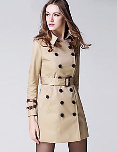 BURDULLY® Dames Overhemdkraag Lange mouw Trenchcoat Zwart Fade / Zilver / Amandel-5118