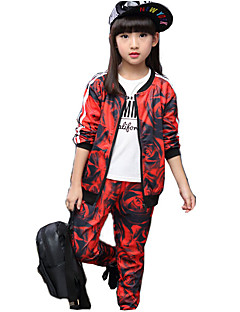 Girl's Casual/Daily Print Clothing Set,Cotton / Rayon Spring / Fall Multi-color / Red