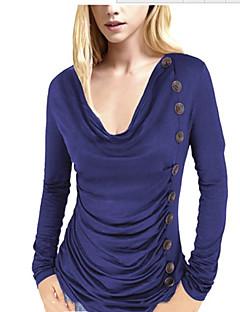 Mulheres Camiseta Casual Vintage Todas as Estações,Sólido Vermelho / Preto Poliéster Gola Boba Manga Longa Fina