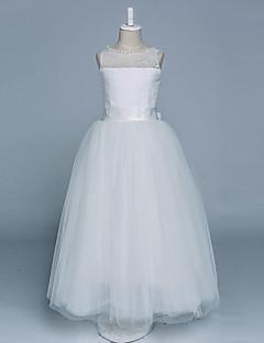 Ball Gown Floor Length Flower Girl Dress - Satin Tulle Sleeveless Jewel Neck with Pearl