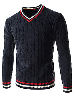 Men's Striped Casual / Sport Pullover,Wool / Cotton Long Sleeve Blue / Green / White Wool Sweater