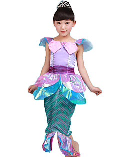 Cosplay Costumes Mermaid Tail Fairytale Festival/Holiday Halloween Costumes Purple Print Solid Skirt Halloween Carnival Children's Day