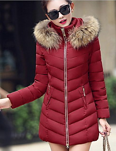 Women's Solid Red / Black / Brown / Gray / Green / Yellow Padded Coat,Simple Stand Long Sleeve Down Jacket