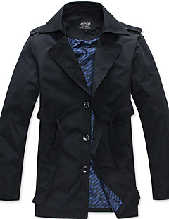 Lesmart Herren Ständer Lange Ärmel Trench Coat Khaki / Dunkelblau-MDFY1101