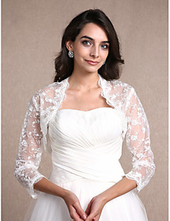 Women's Wrap Shrugs 3/4-Length Sleeve Lace Ivory Wedding Party/Evening Casual Scoop 30cm Lace Open Front