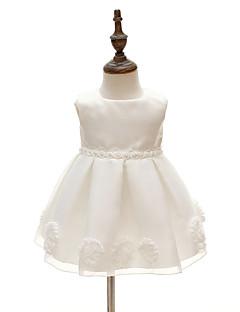 bebê Vestido,Festa/Coquetel Floral Poliéster Todas as Estações Branco