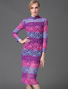 stephanie Frauen Jahrgang Mantel dressstriped / geometrische Ständer Knielänge lange Ärmel lila Ausgehen