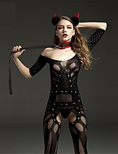 Damen Dessous mit Strumpfband Besonders sexy Teddy Nachtwäsche Nylon Schwarz