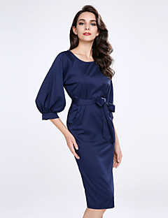 Women's Going out Plus Size Sexy Sheath Dress,Solid Round Neck Knee-length Half Sleeves Acrylic Polyester Summer Mid Rise Micro-elastic