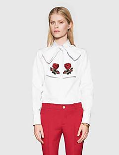 Damen Stickerei Einfach Lässig/Alltäglich Hemd,Rundhalsausschnitt Frühling Langarm Weiß Baumwolle Dünn
