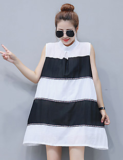 Solto Vestido Simples Sólido Colarinho Chinês Acima do Joelho Sem Manga Azul / Preto Elastano Verão Micro-Elástica Média