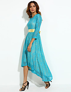 Women's Sexy Print Plus Size / Swing Dress , Round Neck Asymmetrical Polyester / Others