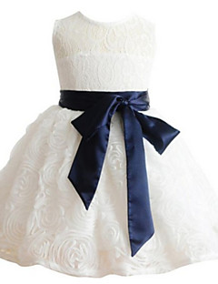 Ball Gown Knee-length Flower Girl Dress - Lace Sleeveless Jewel with Lace / Sash / Ribbon