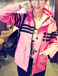 Women's Going out / Casual/Daily Simple Fall Jackets,Striped Hooded Long Sleeve Pink / Black Cotton / Polyester Medium