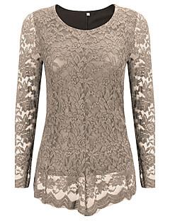 T-shirt Da donna Casual / Taglie forti Sensuale Primavera / Autunno,Tinta unita / Ricamato Rotonda Tipi di pelli specialiBlu / Nero /