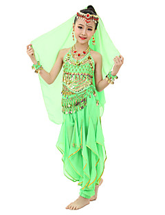 Belly Dance Outfits Children's Performance Chiffon Gold Coins Sequin 7 Pieces Light Blue / Light Green / Orange / Purple