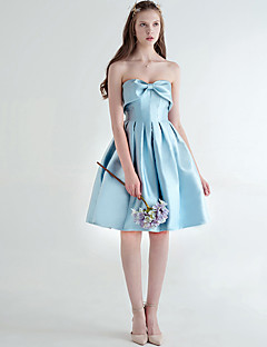 Knee-length Satin Bridesmaid Dress A-line Sweetheart with Bow(s) / Draping